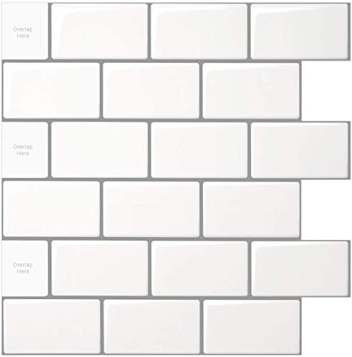 Art3d 10 Sheets Vinyl Stick on Tiles, 12'x12' Peel and Stick Subway Tile Backsplash, Shiny White with Gray Grout…