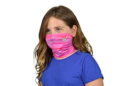 Mission Cooling Youth Neck Gaiter 6+ Ways To Wear, Face Mask, UPF 50, Cools when Wet- Dazed Hot Pink