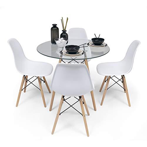 Conjunto de Comedor Tower 100 Cristal. Mesa de Cristal Redonda de 100 cm y 4 sillas MAX Tower (Blanco)