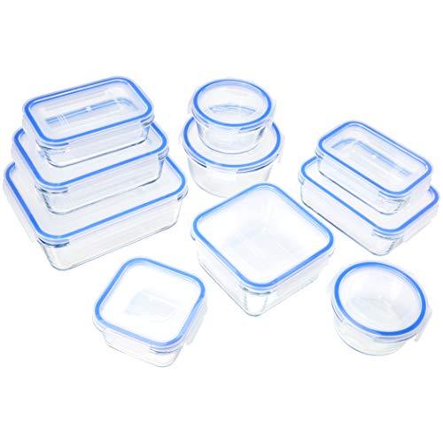 Amazon Basics Récipients en Verre avec clips de Fermeture pour Conservation Alimentaire, Lot de 20 Pièces (10 récipients + 10 couvercles), sans BPA