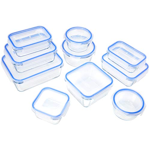 Amazon Basics - Recipientes de cristal para alimentos, con c