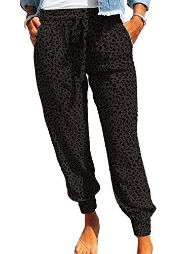 ROSKIKI Womens Casual Leopard Print Drawstring Elastic Waist Joggers Pants with Pocket Lightweight Long Sweatpants Black Large