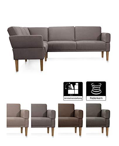 Cavadore Eckbank Femarn mit Federkern und verstellbaren Armlehnen, Sitzecke für Küche oder Esszimmer, 254 x 98 x 195 cm, Mikrofaser Lederoptik hellbraun