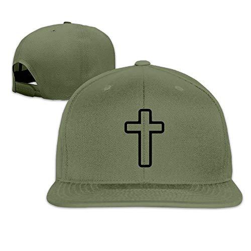 DD Decorative Flat Bill Baseball Caps, Cross Unisex Printed Hip Hop Adjustable Snapback Sports Hat