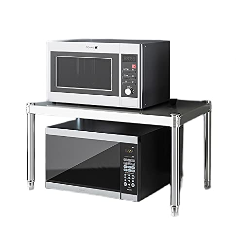 """Stainless steel kitchen counter top microwave oven shelf rack, 2 tier,200 lb load bearing, shelf for toaster, (23.6""""×13.7""""×15.7""""/60×35×40cm)"""