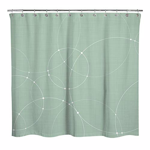 Sunlit Design White Overlapping Circles Fabric Shower Curtain, Modern Style Bathroom Decoration Curtains, Green