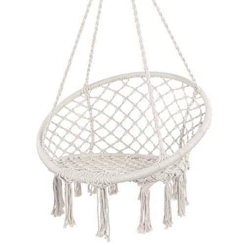 Y- STOP Hammock Chair Macrame Swing - Max 330 Lbs-Hanging Cotton Rope Hammock Swing Chair for Indoor...