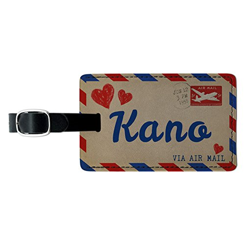 Air Mail Postcard Love for Kano Leather Luggage ID Tag Suitcase Carry-On