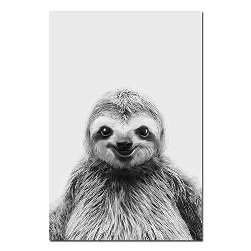 Bilder Auf Leinwand,Schwarze Und Weiße Tier Faultier, Fashion Dekor Leinwand Gemälde Kunstdruck Poster Bild Wand Schlafzimmer Wohnzimmer Dekoration Malerei Wandbild, 60 × 80 cm