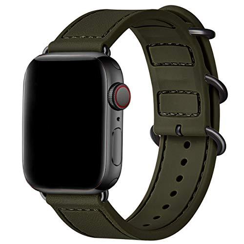 BesBandコンパチブル Apple Watch バンドアップルウォッチ バンド スポーツバンド 交換ベルト柔らかいシリコン素材 耐衝撃 防水防汗 iWatch SE,series 6/5/4/3/2/1に対応(42mm 44mm, アーミーグリーン/黒 アダプタ)