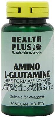 Health Plus Amino L-Glutamine 500mg Amino Acid Supplement - 60 Tablets