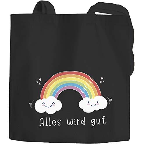 Moonworks® Jutebeutel Regenbogen Alles wird gut Mutmacher Geschenk Trost Aufmunterung positiv denken durchhalten schwarz 2 lange Henkel