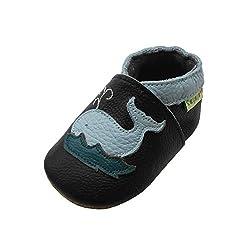 SAYOYO Netter Wal Lauflernschuhe Krabbelschuhe Babyschuhe 21/22 (12-18 Monate) L, Schwarz