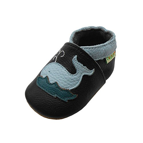 SAYOYO Baby Cute Dolphin Soft Sole Black Leather Infant and Toddler Shoes 6-12Months