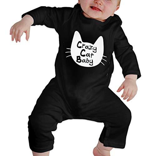 YtoaBmebqsu Long Sleeve 4 Crazy Cat Baby White Logo Cute Baby Onesies Tshirt Black 18M