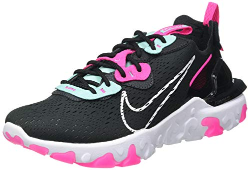 Nike W NSW React Vision, Scarpe da Corsa Donna, Dk Smoke Grey/White-Pink Blast-Tropical Twist-Black, 42 EU