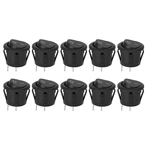 10 STKS KCD1 Tuimelschakelaars 2-pins ronde boot aan-uit voor huishoudelijke apparaten voor drinkfonteinen, loopbanden, computerluidsprekers, koffiepotten, massagemachines