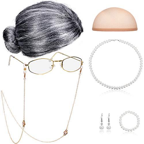 Conjunto de Disfraz de Anciana Gorro de Peluca Cordones de Cadena de Gafas Collar de Cuentas de Perlas de Imitación (Gris Peluca de Bollo)