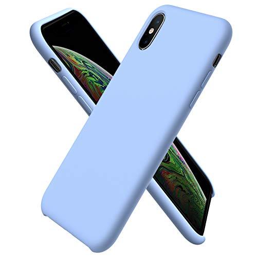 ORNARTO Custodia in Silicone Liquido per iPhone XS Max, Cover Sottile in Silicone Liquido in Gomma Gel Morbida per iPhone XS Max (2018) 6,5 Pollici-Azzurro