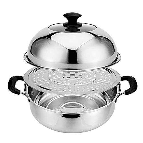 ZLJ Pentola per Cottura a Vapore in Acciaio Inossidabile pentola per zuppa addensata pentola con Coperchio e Fetta fumante (28-40 cm) per fornello a Gas pentola a induzione (Dimensioni: 3