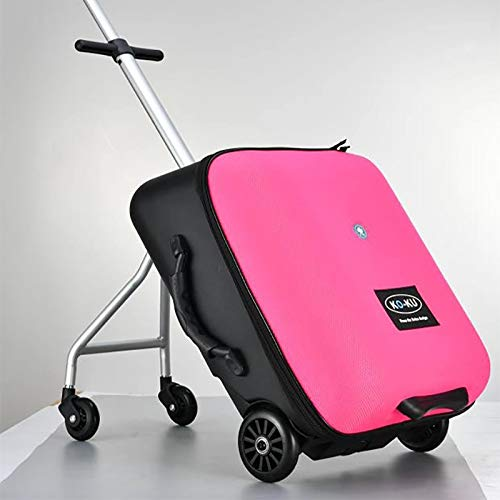 MVDWWH Beautiful and convenient Children's lazy suitcase can be sitting in a tens of thousands of toddler travel boarding trolley slipper Easy to walk (Color : Red powder, Size : 21 inch)