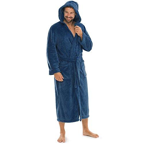 aqua-textil Bademantel Damen Malibu XXXL blau Saunamantel Herren Coral Fleece Morgenmantel mit Kapuze