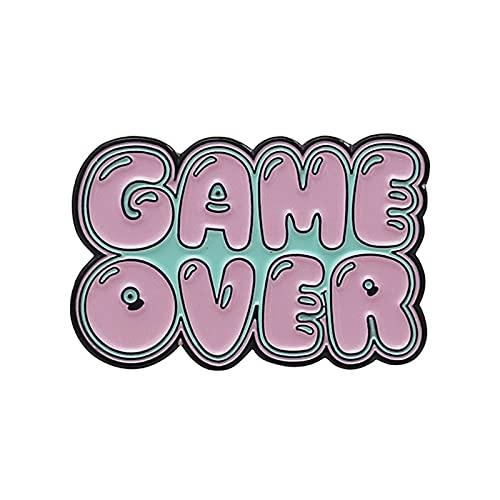 Pixel Game Esmalte Pins Retro Game Badges Game Over Gamepad Broches Corazón Rosa Mochila Pin Broche Para Mujeres Hombres Joyería