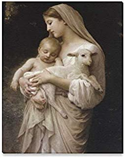 Virgin Mary Holding The Baby Jesus and A Lamb Modern Canvas Print Painting Wood Framed Wall Art for Home Decoration Wall Decor, 16 x 20 Inches