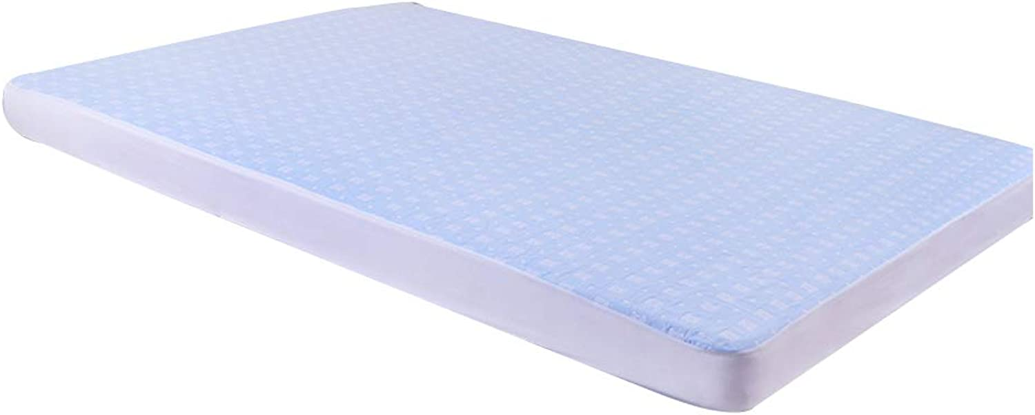 ZHAOHUI Mattress Predector Cotton Waterproof Breathable Ultra-Thin Hypoallergenic Soft Skin-Friendly Non-Slip, 2 colors, 4 Sizes (color   bluee, Size   120X200cm)