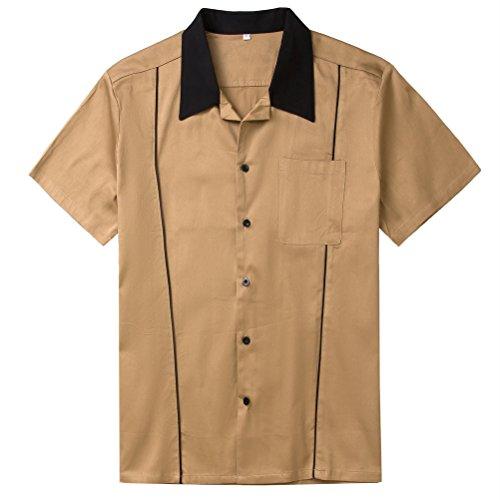 Candow Look Men Shirt Brown Cotton Unique Design Button Down Bowling Shirts