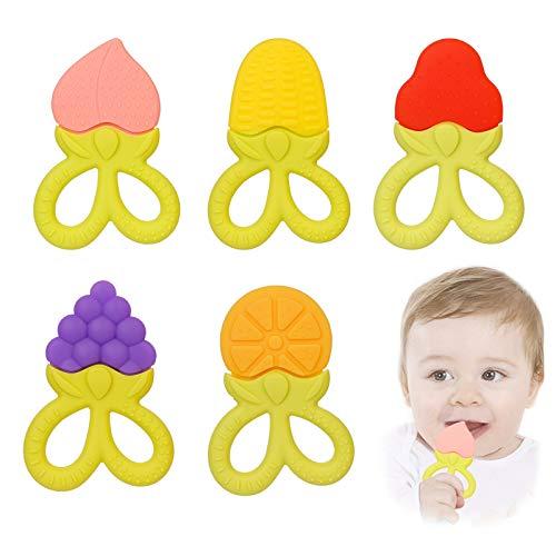 EACHPT 5pcs massaggia gengive per neonati giocattoli dentizione per bambini silicone naturale frutta massaggiagengive refrigerante senza BPA Dentizione Neonati Giocattolo per bambine