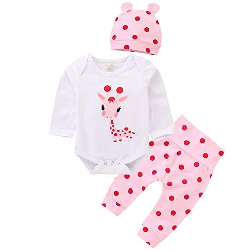 Bebé recién Nacido de Manga Larga de Dibujos Animados Jirafa Mameluco + pantalón de Lunares + Ropa de Sombrero (3-6 Meses, Blanco + Rosa)