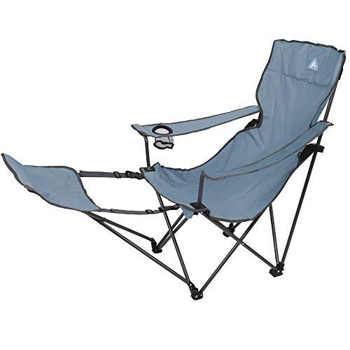 10T Outdoor Equipment Joe Quickfold Plus Arona-Silla Plegable para jardín (con reposapiés y Soporte para Bebidas), Azul y Gris, 1 Persona