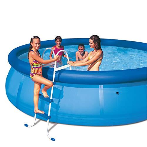 ZDYLM-Y Poolleiter, Aufstellbare Schwimmbeckenleiter aus Stahl, rutschfest, für 107 cm hohe Aufstellbecken, blau