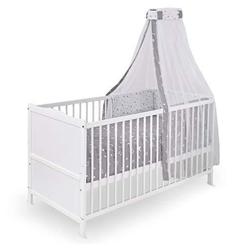 Urra Komplett-Kinderbett Luca 70x140 cm Kiefer weiß   teilmassiv   inklusive Bettset 3-teilig   Matratze   Himmelstange   Luna