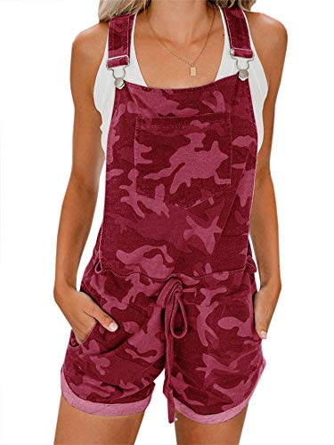 Jeanewpole1 Womens Bib Overall Shorts Summer Casual Camo Elastic Waist Comfy Fit Playsuit