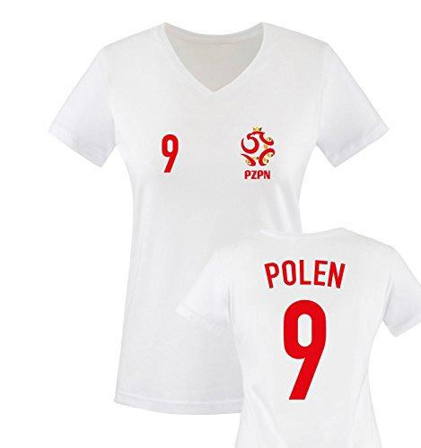 EM 2016 - Trikot - EM 2016 - Polen - 9 - Damen V-Neck T-Shirt - Weiss/Rot-Gold Gr. M