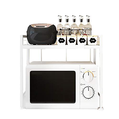 XJDZ Rack de Horno de microondas de Acero al Carbono Ampliable, Estante de Cocina y Estante de Almacenamiento Ajustable de 3 Niveles con 3 Ganchos, rodamientos 44 Libras,Blanco