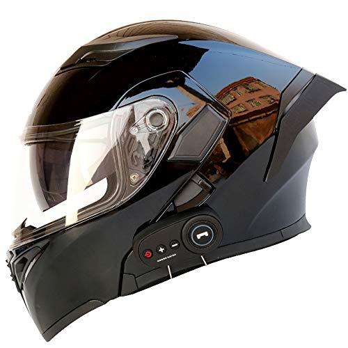 SIBEI Bluetooth De La Motocicleta Casco, Modular con FM Y La Cola De La Moto Cascos Cascos Boca Vent Diseño Modular, Retráctil Doble Lente De Reducción De Ruido De La Cara Llena del Casco