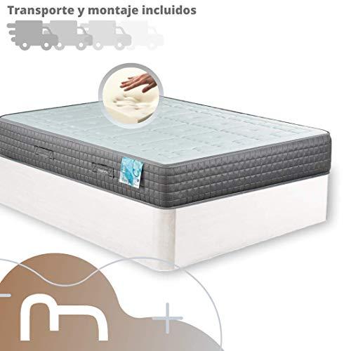 Mi Cama Me Llama Canapé de Madera Cheap + Colchón viscoelástico Reversible Premium - Montaje Incluido (135x190, Blanco)
