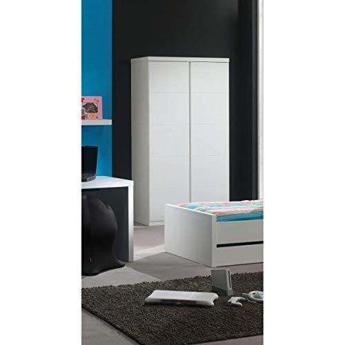 Vipack LAKL1214 Lara-Armadio a 2 Ante, in MDF Laccato, Colore: Bianco, 110 x 57 x 204,5 cm