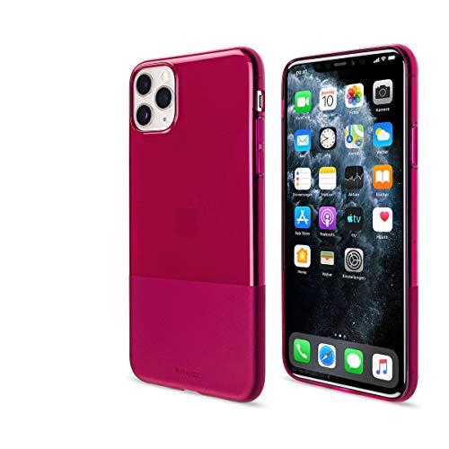 Artwizz NextSkin Case designed für [iPhone 11 Pro Max] - Ultra-dünne, elastische Handyhülle mit 0,8 mm Dicke, 2/3 Transluzent, 1/3 Matt - Berry