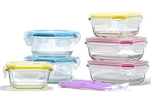 Little Home Planet® Set de 6 Contenedores de Alimentos para Bebe en Cristal | 2 Cucharas y Funda de Silicona | Cubiertos con Sello a presion | 97% embalaje de plástico eliminado | Libre de BPA Tapa