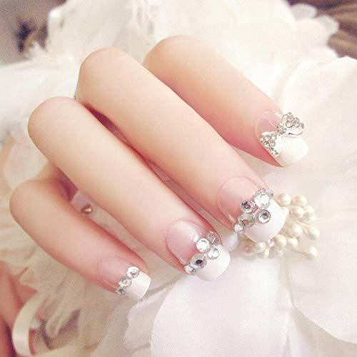CSCH Faux ongles 24 pièces de bowknot artificiel mariée faux ongles pointe française faux ongles strass faux ongles pleins et colle art de mariage ongles conseils