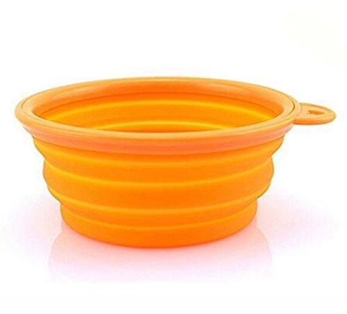 Vi.yo - Ciotola per cani, gatti, animali domestici, in silicone, pieghevole, per mangiare, mangiatoia per acqua portatile, dimensioni 13 x 9 x 5,3 cm (arancione)