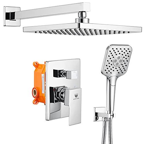 HIMK Shower System,Wall Mounted Shower Faucet Set for Bathroom,High Pressure 10' Rain Shower head and 3-Setting Handheld Shower Head Set,Pressure Balance Valve,Chrome
