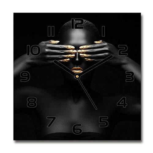 Tulup Reloj De Pared De Vidrio 60x60cm Silenciosa Moderno Grande Original Decorativo Manecillas Negras - La Mujer De Negro