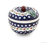 Bunzlauer Keramik Apfel-Bräter mit Deckel, 12,6x11,6 cm, Dekor 41