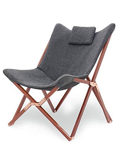 Liegestuhl Gartenliege Klappstuhl Stühle Klappbar Lounge Sessel TV Relaxliege Hochlehner Design Modern Mit Stoff und Holz Für Camping Drinnen und Draußen Dunkelgrau
