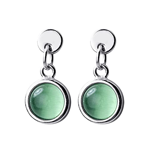 925 Sterling Silver Round Green Opal Crystal Stud Earrings for Women Wedding Statement Jewelry Boucles